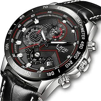 LIGE – Reloj analógico de cuarzo para hombre, resistente al agua, con fecha, deportivo, color marrón Hombres Relojes Relojes de Pulsera Ropa, Zapatos y Joyería