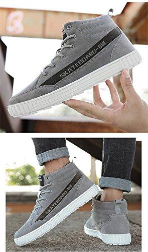 Haut Shoesing Sneakers Lace Durable Skate TUOKING Shoes Up Haut Gris Casual Skate Hommes Croissante Mode Hauteur wpxSqXv