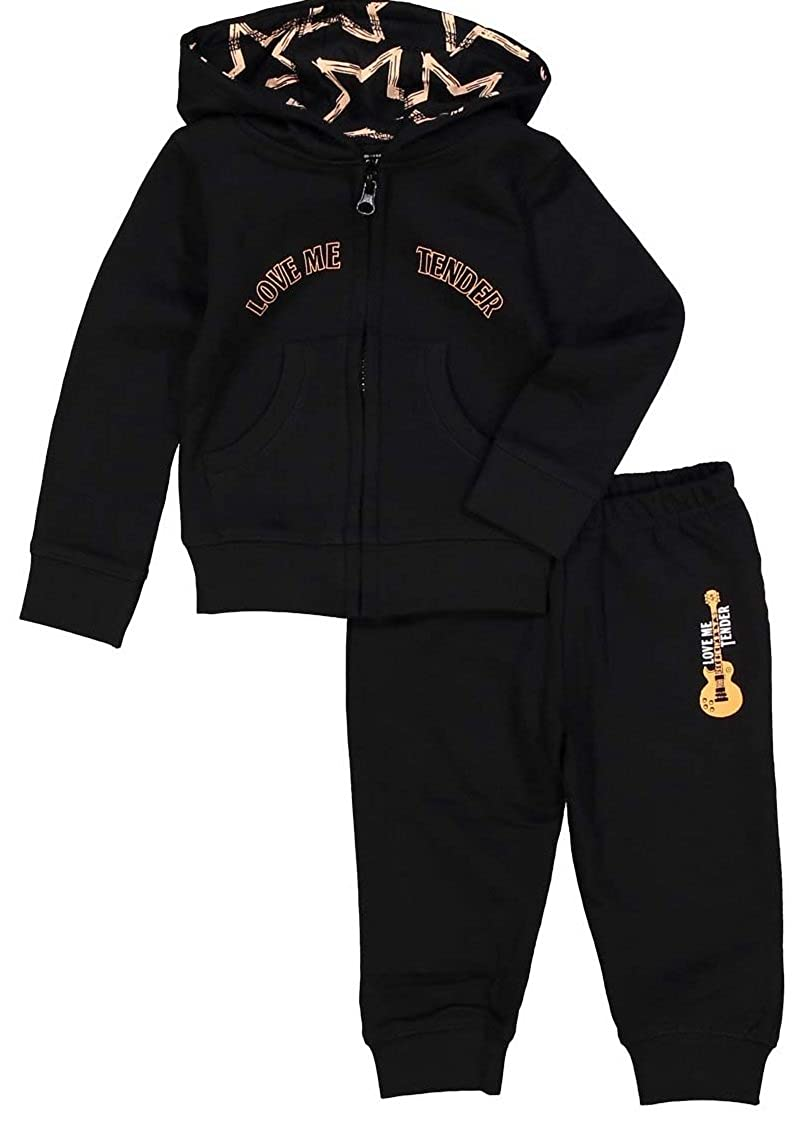 Silly Souls, Inc Love Me Tender Infant Girls Cotton Sweatsuit Black Coral