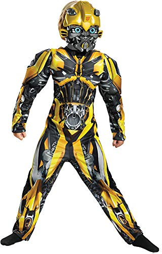 Disguise Boy's Bumblebee Muscle Transformers Movie Theme Child Halloween Costume, Child L (10-12) -