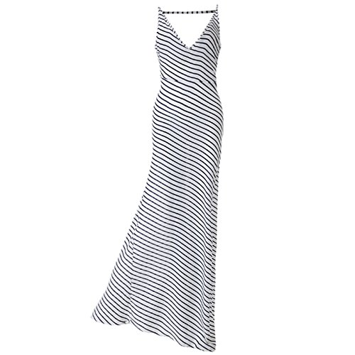 Damen VAusschnitt ärmellos Trägerlos Rückenfrei Gestreift Beiläufige Ein Gürtel  Lang Kleider Beachwear Trägerkleid Freizeitkleid Strandkleider