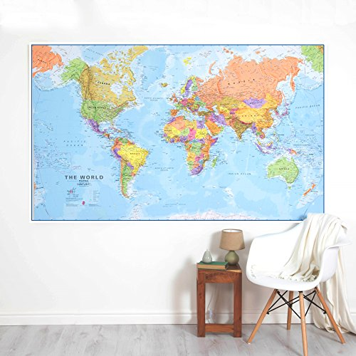 Giant World MegaMap - Large Wall Map Poster - Paper with front sheet lamination - 77.95 x 48.03 inches by Maps International (Image #1)