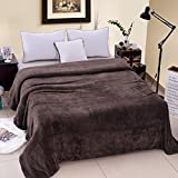 JML Super Soft Solid Color Plush Flannel Blanket, Throw, Fleece (King, Brown)