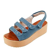 AllhqFashion Women's Kitten-Heels Soft Material Solid Hook-and-loop Open Toe Flats-Sandals
