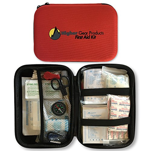 First Aid Kit for Car, SUV and Marine Use | Emergency Medical Kit for Home, Business, Travel, Hiking, Backpacking, Camping and Sports | 130 Pieces | Hard Shell Case | FDA Approved | + Bonus eBook by Higher Gear Products (Image #1)