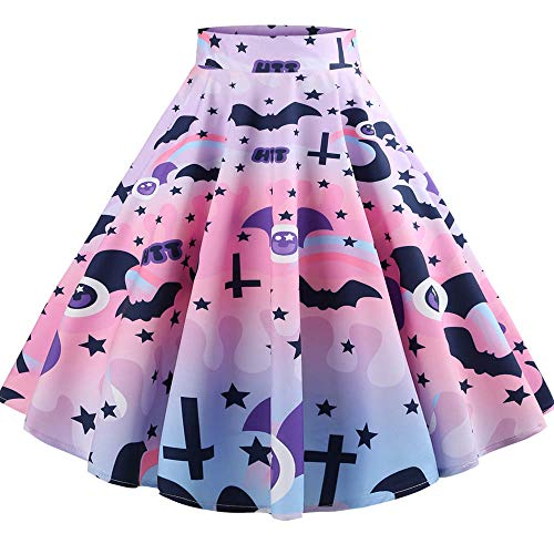 GOVOW Halloween Party Skirt for Women Sexy Casual Retro Printing Evening Swing Skirts(XXL,Z-Purple ) -