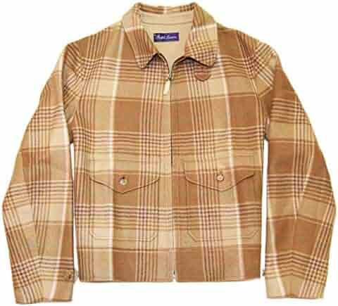 6ffcb267e Ralph Lauren Polo Purple Label Mens Brown Beige Jacket Coat Cashmere Plaid  Italy