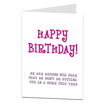 Funny Birthday Card For Mum Nan Grandma 60th 70th 80th Celebrations