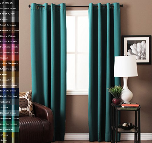 TURQUOIZE Solid Blackout Drapes, Teal/ Blue Turquoise, Themal Insulated, Grommet/Eyelet Top, Nursery & Infant Care Curtains Each Panel 52″ W x 84″ L