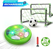 DEERC Kids Game Toys Hover Soccer Ball Set Rechargeable Air Soccer with 2 Goals, Ball Toy with LED Light for Indoor Games, G