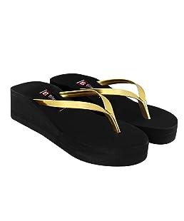Blinder Women's Black Golden Heel Gola Slippers Flat Wedges