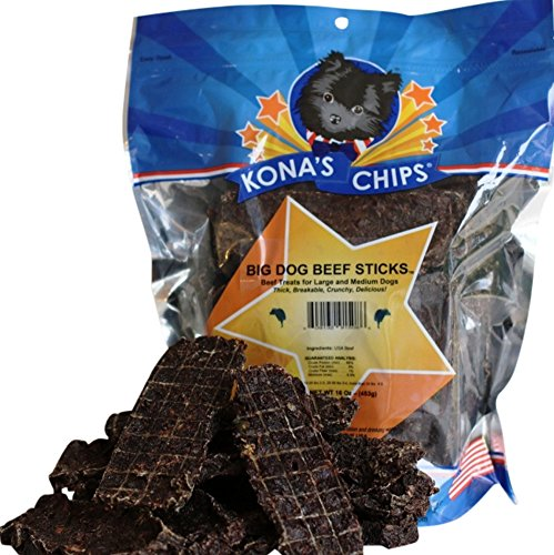 KONA'S CHIPS BIG DOG BEEF STICKS; Chemical and Grain FREE Dog Treats. All Natural, Healthy USA Made, Single Ingredient Beef Treats for Dogs. 16oz - Stores Kona In