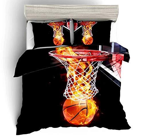 starfarm Boys Basketball Bedding Set 3D Shooting a Flame Fire Basketball,Basketball Sports Duvet Cover Full Size for Teens Kids 3 Pieces