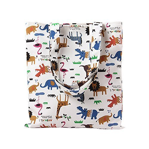 Caixia Women's Cotton Happy Animal Zoo Print Canvas Tote Shopping ()