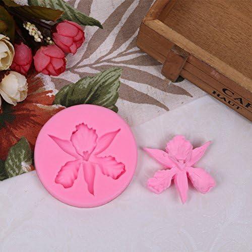 BESTO nzon qualit/à alimentare stampo in silicone 3d Orchidee a forma di fiore in rilievo della torta del fondente decora Tools rosa