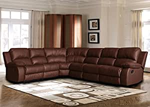 Large Classic and Traditional Brown Bonded Leather Reclining Corner Sectional Sofa for Big Families and Groups