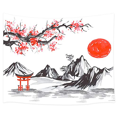 Japan Traditional Painting Tapestry Wall Hanging, Fuji Mountain Sakura Sunset Asian Watercolor Ink Picture Wall Blanket Beach Towels Home Decor Polyester Fabric for Bedroom Living Room Dorm, 60X40 in