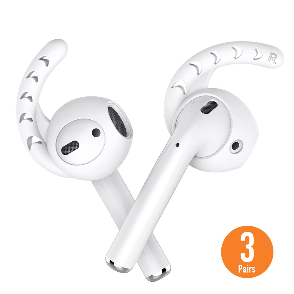 AhaStyle AirPods and EarPods Hooks and Covers Accessories for Apple Earphone Earbuds [3 Pairs] - Milk White