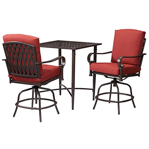 Oak Cliff 3-Piece Metal Outdoor Balcony Height Bistro Set with Chili Cushions (Piece Set 7 Patio Dining Hampton Bay)