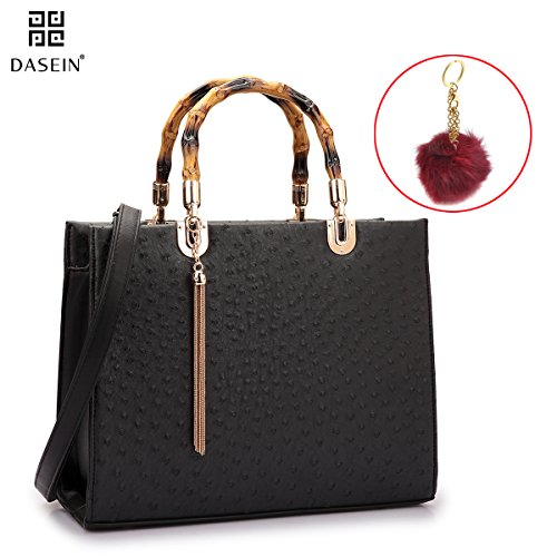 Dasein Ostrich Material Wooden Handle Leather Satchel Structured Tote Bags Purses for Women by Dasein
