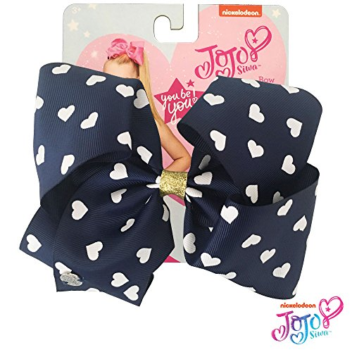 JoJo Siwa Signature Collection Hair Bow - Navy with White Heart Print - Sticker Patch Set Included