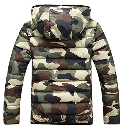 Jacket Winter Coat Fulok Puffer Mens Army Up Camo Green Parka Zip Warm Hoodie ZnCq8Unw