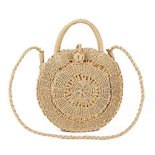 Olyphy Round Straw Shoulder Bag for Women, Weave Crossbody Bag Top Handle Handbag Summer Beach Purse (hollowbeige)