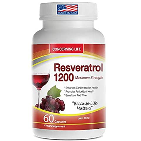 Resveratrol Supplement with Quercetin, Grape Seed Extract, Green Tea Resveratrol-1200mg 60 Capsules - Reserve Proprietary Red Wine