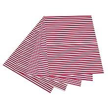 Folia 6020 – Cartulina con Rayas, 50 x 70 cm, 10 Hojas, Color Rojo y Blanco