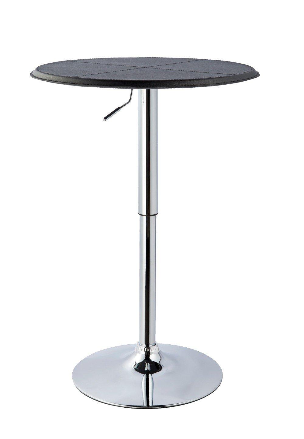 FineBuy Stehtisch PARTY Bistrotisch rund Glasplatte Farbe Silber h/Ã/¶henverstellbar Bartisch Design