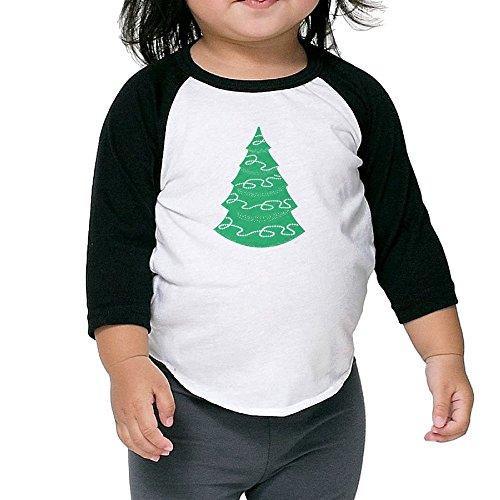 Big Green Christmas Tree Child 3/4 Sleeve Raglan Tee Shirts For Kids