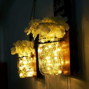 B4Life Rustic Wall Sconce – Mason Jar Wall Sconce, Rustic Home Decor with Pull Chain Switch, Silk Hydrangea and LED Strip Lights Design for Home Decoration (Set of 2)