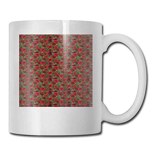 Christmas Mugs Romantic Vibrant Roses and Buds Holly Berries Pine Cones and Leaves Print For Family and Friend Red Brown Green 11oz