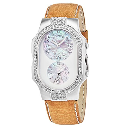 Women 'Signature' Mother of Pearl Dial Beige Leather Strap Dual Time Swiss Quartz Watch - Philip Stein 2DD-FFSMOP-CSTC