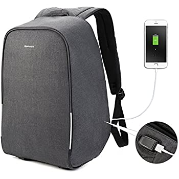 Kopack Waterproof Anti Theft Laptop backpack with USB Charging Port Bussiness ScanSmart Travel bag 15.6 inch Gray Black with Rain Cover