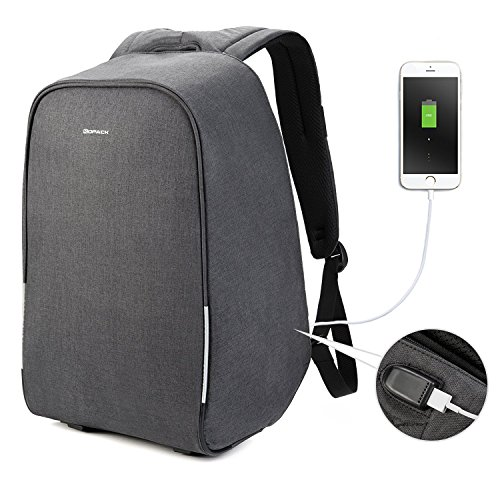 Kopack Waterproof Anti Theft Laptop backpack with USB Charging Port Bussiness ScanSmart Travel bag 15.6 inch Gray Black with Rain - Laptop Backpack Built