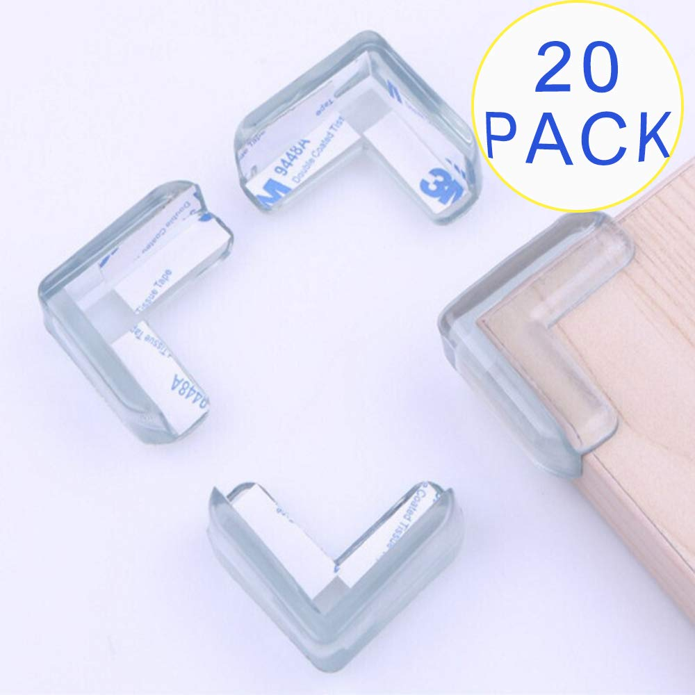 Transparent Protective Corner Guards for Baby Safety, Sticky Corner Protectors for Children Proofing Sharp Edge, Non Toxic Baby Furniture Edge Guard Protectors with High Resistant 3M Adhesive, 20 Pack
