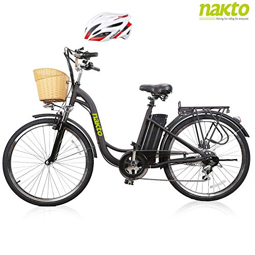 NAKTO 26 Adult Electric Bicycle City Sporting Shimano 6-Speed Ebike with Removable 36V 12A Lithium Battery for Women Men