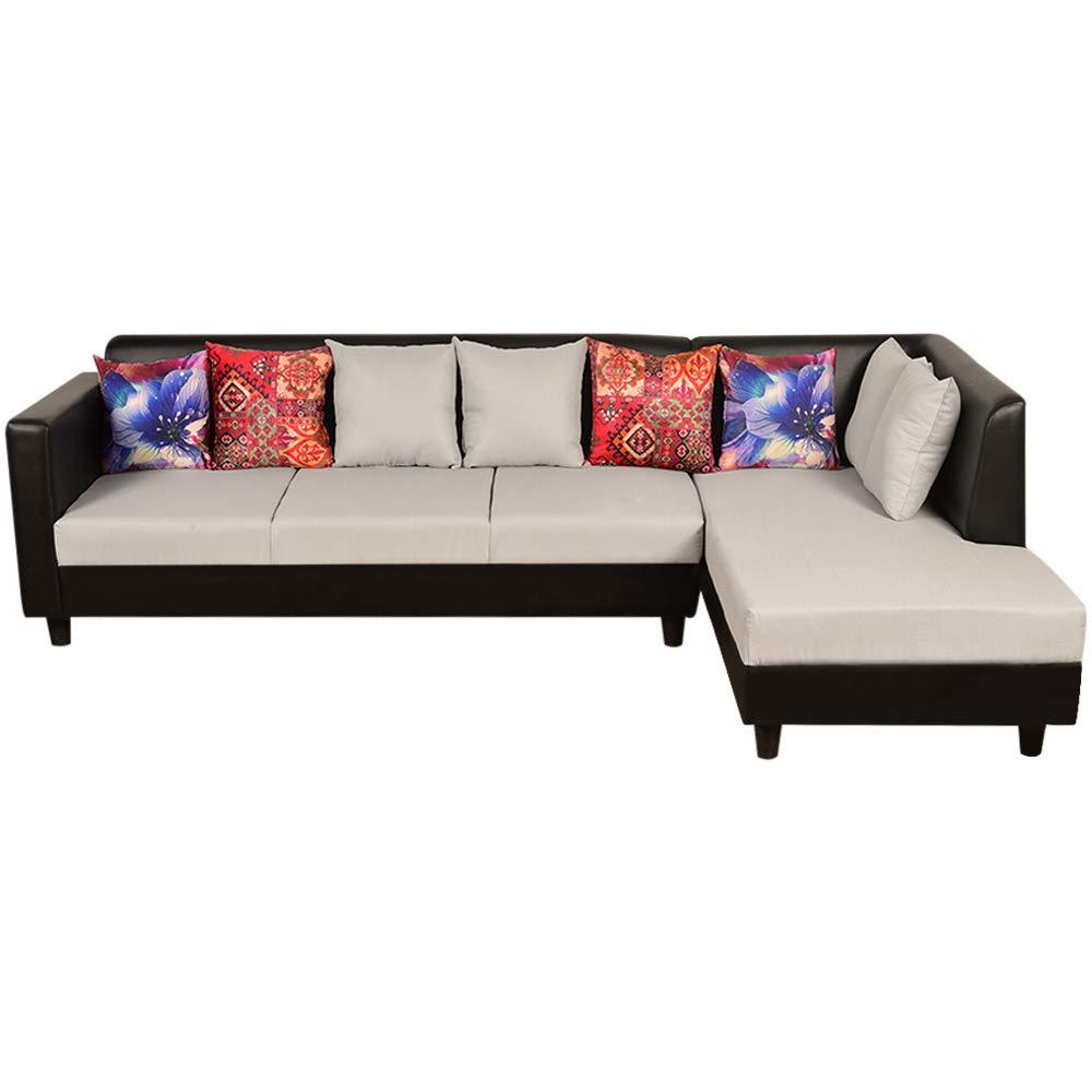Sunuzu Essential Six Seater L Shape RHS Sofa (Light Grey-Black)