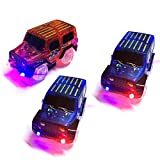 TSLIKANDO Car Track Replacement Toy Car (3 Pack) Glow in the Dark Racing Track Accessories Compatible Most Tracks Boys Girls