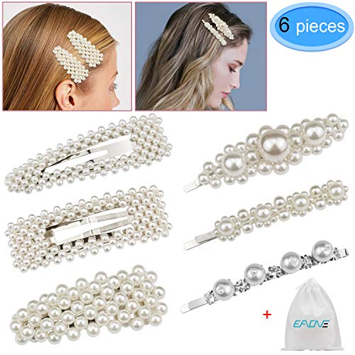 6 Pieces Pearl Hair Clip Hair Barrettes Decorative Handmade Pearl Hair Brooches Wedding Hairpins Hair Styling Accessories with 1 Gift Bag for Women Girls By EAONE