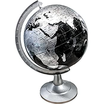 Deco 79 Marble and Resin Decorative Globe 7 Inches x 5 Inches Black//Silver//White//Brown