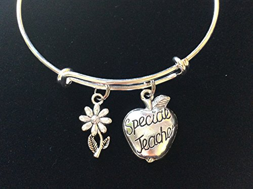 - Special Teacher Silver Apple with Daisy Expandable Charm Bracelet Adjustable Wire Bangle