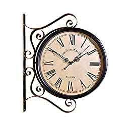 Fengfeng Double Sided Clocks, Iron Art Two-Sided Craft Wall Bell European Retro Living Room Mute Wall Clock