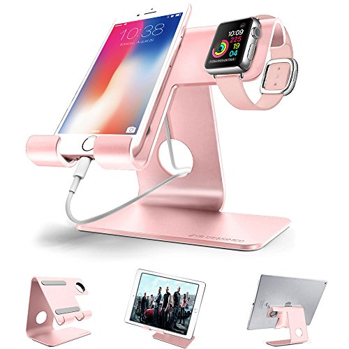 ZVE Universal 2 in 1 Aluminium Desktop Charging Stand for iWatch, Smartphone and Tablets Up to 12.9-Inch – Rose gold stand