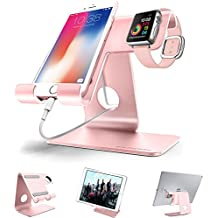 ZVE Universal 2 in 1 Aluminium Desktop Charging Stand for iWatch, Smartphone and Tablets Up to 12.9-Inch - Rose gold stand