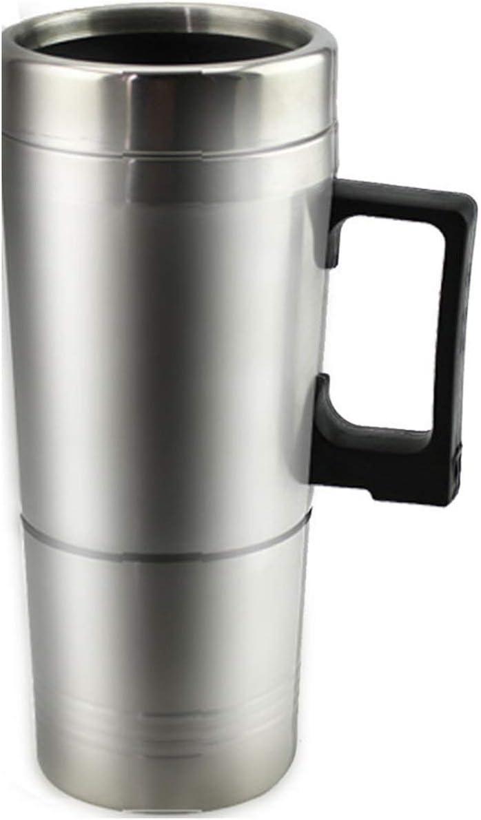 EmNarsissus Taza calefactora de Agua Caliente para Coche - Hervidor eléctrico para Coche Taza calefactora portátil de Acero Inoxidable con Cargador de 12 voltios
