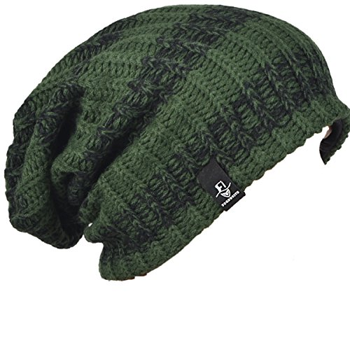 - FORBUSITE Mens Slouchy Long Oversized Beanie Knit Cap for Summer Winter B08 (Green with Black)