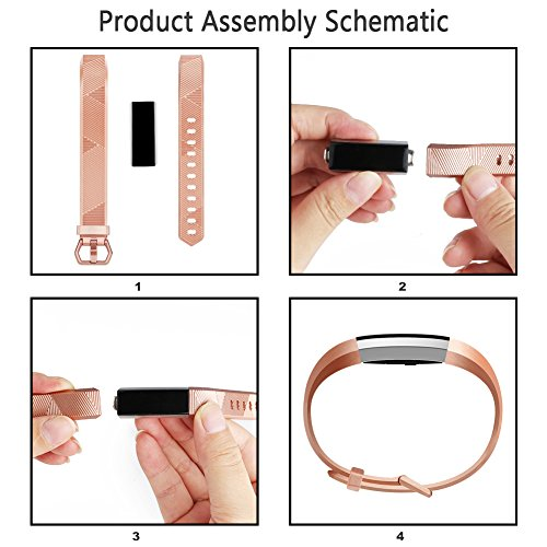 Vancle Fitbit Alta Band/Fitbit Alta HR Band, Newest Replacement Wristbands for Fitbit Alta HR 2017/Fitbit Alta 2016(# Rose Gold, Small)