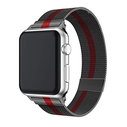 AWOOWELL for Watch Band 44mm 42mm,Stainless Steel Mesh Metal Loop with Adjustable Magnetic Closure Replacement Bands for Iwatch Series 4 3 2 1 Black Red
